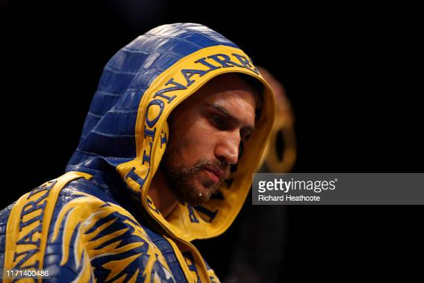 Vasily Lomachenko enters the arena during the WBA, WBO, WBC Lightweight World Title contest between Vasily Lomachenko and Luke Campbell at The O2...