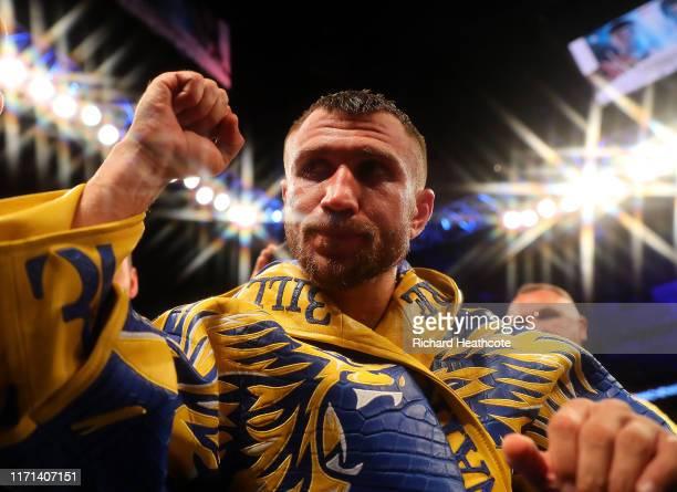 Vasily Lomachenko exits the arena after winning the WBA, WBO, WBC Lightweight World Title contest between Vasily Lomachenko and Luke Campbell at The...