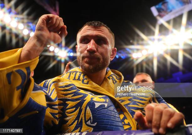 Vasily Lomachenko exits the arena after winning the WBA, WBO, WBC Lightweight World Title contest between Vasily Lomachenko and Luke Campbell at The...