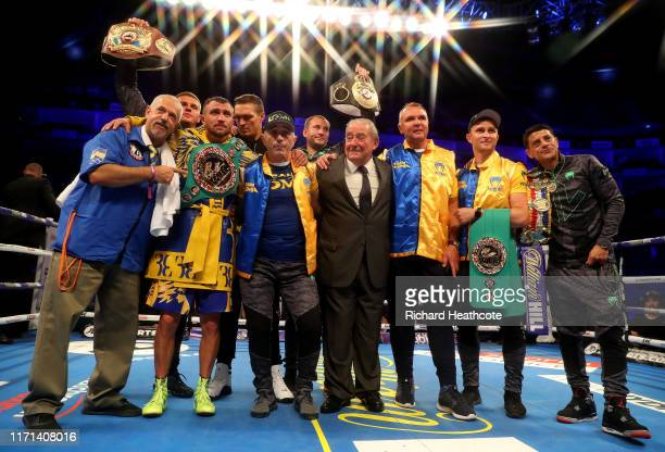 Vasily Lomachenko is pictured with his team 1after winning the WBA, WBO, WBC Lightweight World Title contest between Vasily Lomachenko and Luke...