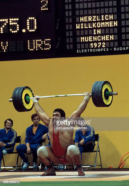 Vasily Vasily Alekseyev of the Soviet Union Gold Medallist in the Super Heavyweight 110 kg Weightlifting Class during the Olympic Games in Munich...