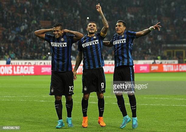 Vasquez Fredy Alejandro Guarin Mauro Emanuel Icardi and Jeison Murillo celebrate a victory at the end of the Serie A match between FC Internazionale...