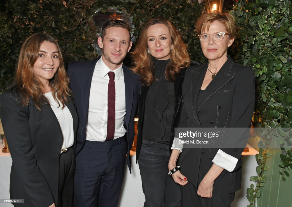 Vassi Chamberlain, Features Director at PORTER magazine, Jamie Bell, Lucy Yeomans, Editor-in-Chief of PORTER magazine, and Annette Bening attend the PORTER & Lionsgate UK after party for 'Film Stars Don't Die In Liverpool' at Mark's Club on October 12, 2017 in London, England.