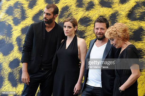 Vassileios Doganis Angeliki Papoulia Syllas Tzoumerkas and Themis Bazaka attend the 'A Blast' Photocall during the 67th Locarno Film Festival on...