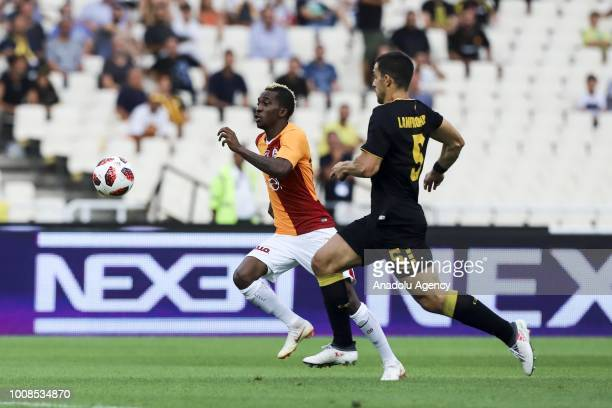 Vassilis Lambropoulos of AEK Athens vies for the ball during friendly football game between AEK Athens and Galatasaray in OAKA Stadium in Athens on...