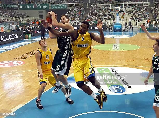 Vassilis Spanoulis, #6 of Panathinaikos competes with Keith Langford, #5 of BC Khimki during the Euroleague Basketball Regular Season 2009-2010 Game...