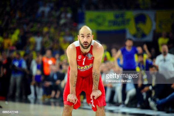 Vassilis Spanoulis #7 of Olympiacos during the Championship Game 2017 Turkish Airlines EuroLeague Final Four between Fenerbahce Istanbul v Olympiacos...