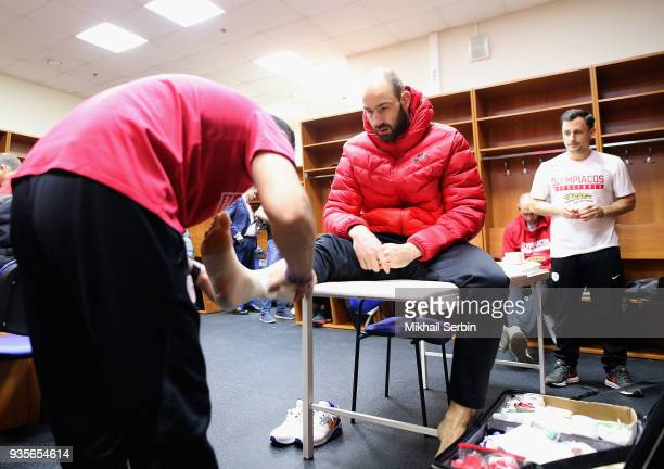 Vassilis Spanoulis #7 of Olympiacos Piraeus before the 2017/2018 Turkish Airlines EuroLeague Regular Season Round 27 game between CSKA Moscow and...