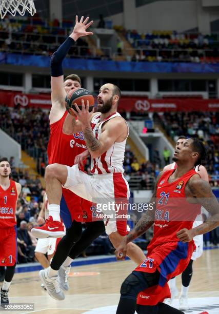 Vassilis Spanoulis #7 of Olympiacos Piraeus competes with Andrey Vorontsevich #20 of CSKA Moscow in action during the 2017/2018 Turkish Airlines...