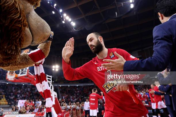 Vassilis Spanoulis #7 of Olympiacos Piraeus enters the court during the Turkish Airlines Euroleague Play Offs Game 1 between Olympiacos Piraeus v...