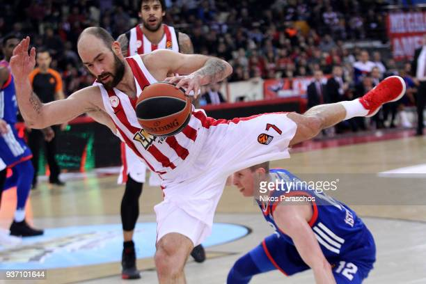 Vassilis Spanoulis #7 of Olympiacos Piraeus in action during the 2017/2018 Turkish Airlines EuroLeague Regular Season Round 28 game between...