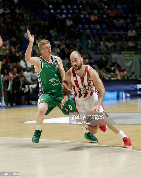 Vassilis Spanoulis #7 of Olympiacos Piraeus in action during the 2017/2018 Turkish Airlines EuroLeague Regular Season Round 29 game between Unicaja...
