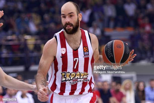 Vassilis Spanoulis #7 of Olympiacos Piraeus in action during the Turkish Airlines Euroleague Play Offs Game 1 between Olympiacos Piraeus v Zalgiris...