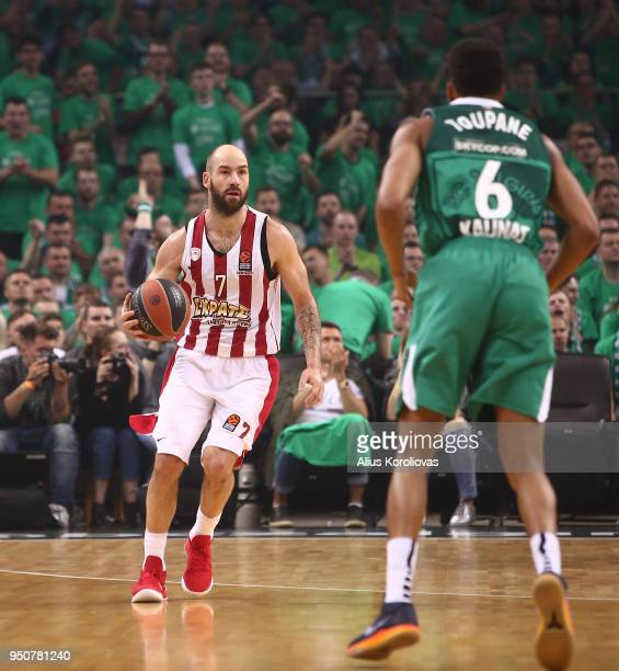 Vassilis Spanoulis #7 of Olympiacos Piraeus in action during the Turkish Airlines Euroleague Play Offs Game 3 between Zalgiris Kaunas v Olympiacos...