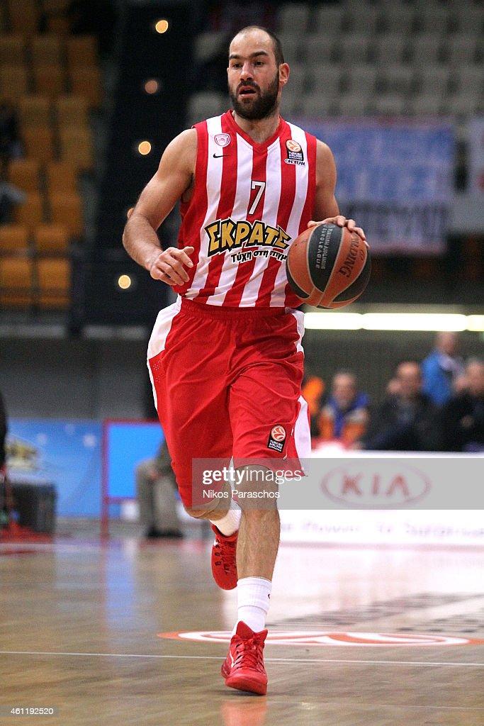 Vassilis Spanoulis, #7 of Olympiacos Piraeus in action ...