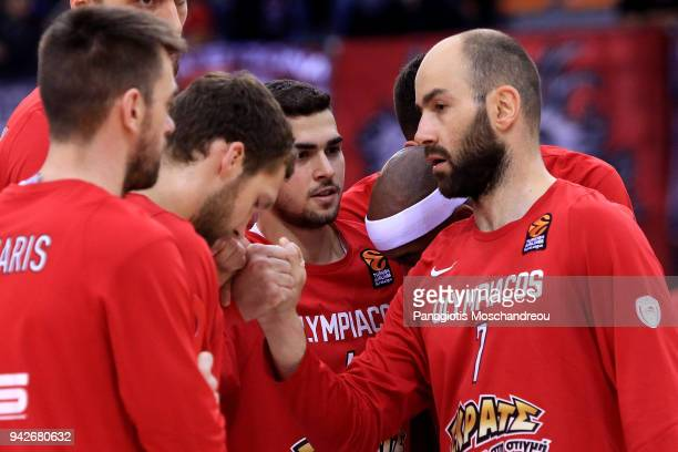 Vassilis Spanoulis #7 of Olympiacos Piraeus react before the 2017/2018 Turkish Airlines EuroLeague Regular Season Round 30 game between Olympiacos...
