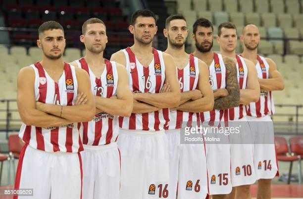 Vassilis Toliopoulos #4 Janis Strelnieks #13 Kostas Papanikolaou #16 Ioannis Papapetrou #6 Georgios Printezis #15 Dimitrios Agravanis #10 and Kim...