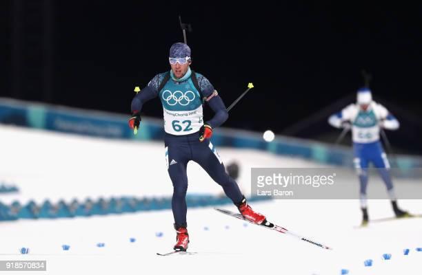 Vassiliy Podkorytov of Kazakhstan finishes during the Men's 20km Individual Biathlon at Alpensia Biathlon Centre on February 15 2018 in...