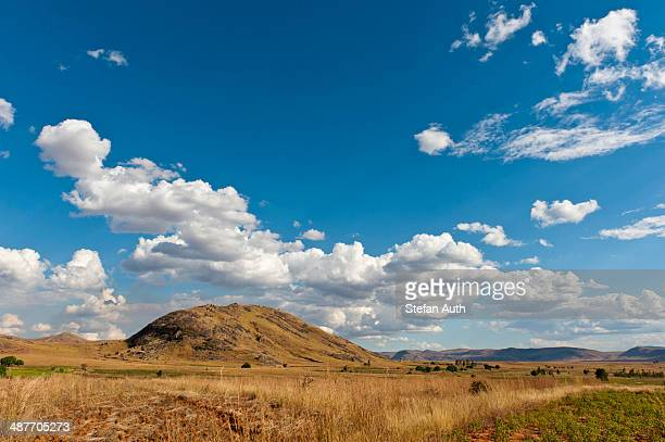 Vast arid landscape, blue sky with clouds, Isalo National Park near Ranohira, Madagascar