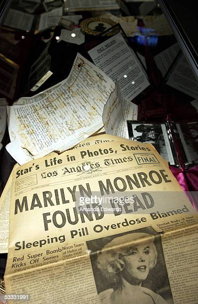 A vast collection of Marilyn Monroe memorabilia is displayed at the Hollywood Museum on August 5 2005 in Hollywood California A group of Monroe's...