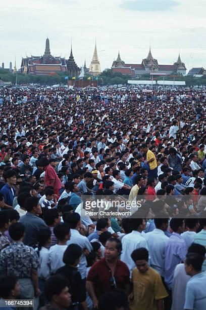 Vast crowd, estimated to be over 150,000 strong, gather at Sanam Luang park in central Bangkok on the eve of the unrest and slaughter of civilians on...