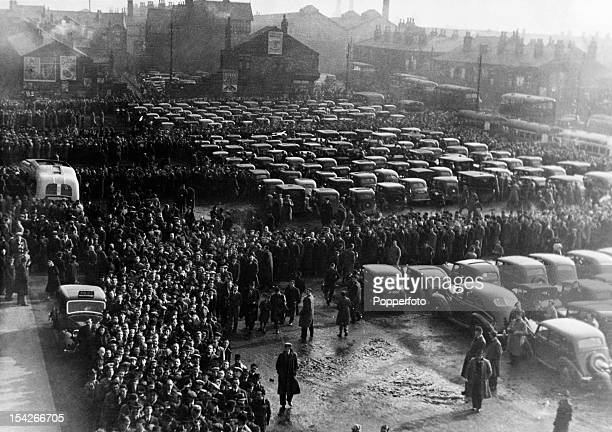 A vast crowd gathering outside the stadium prior to the FA Cup quarterfinal 2nd leg between Bolton Wanderers and Stoke City at Burnden Park in Bolton...