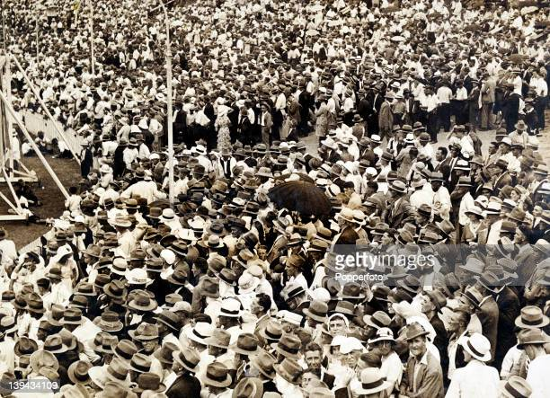 Vast crowds attended the Ashes series between Australia and England in the winter of 193233 here they are watching the 4th Test match in Brisbane...