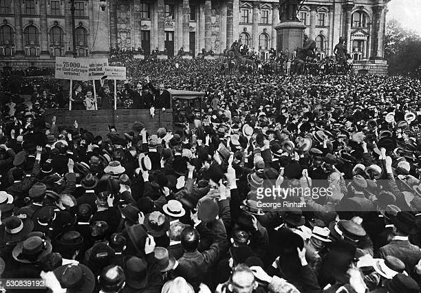 Vast Throng at German Peace Treaty Protest Meeting Berlin Germany Thousands attending a peace treaty protest meeting in Berlin This photo shows the...