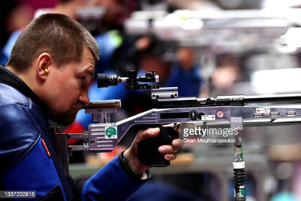 Vasyl Kovalchuk of Team Ukraine competes in the R4 - Mixed 10m AR or Air Rifle Standing SH2 Final on day 6 of the Tokyo 2020 Paralympic Games at...