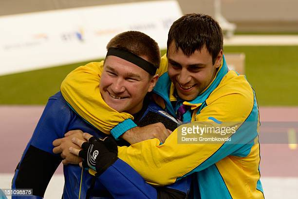 Vasyl Kovalchuk of Ukraine celebrates after winning the Mixed R510m Air Rifle Prone SH2 finals on day 3 of the London 2012 Paralympic Games at The...