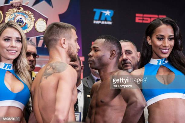Vasyl Lomachenko and Guillermo Rigondeaux weigh in and pose in preparation for their Championship Super Featherweight bout at Madison Square Garden...