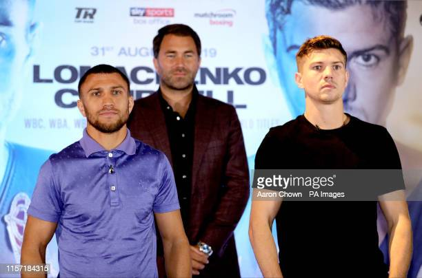 Vasyl Lomachenko and Luke Campbell during the press conference at Glaziers Hall London