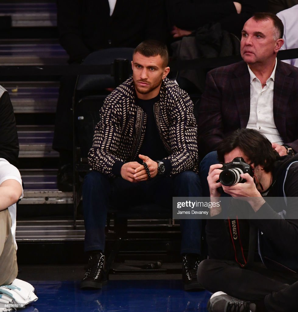 Vasyl Lomachenko attends the Memphis Grizzlies Vs New York Knicks game at Madison Square Garden on December 6, 2017 in New York City.