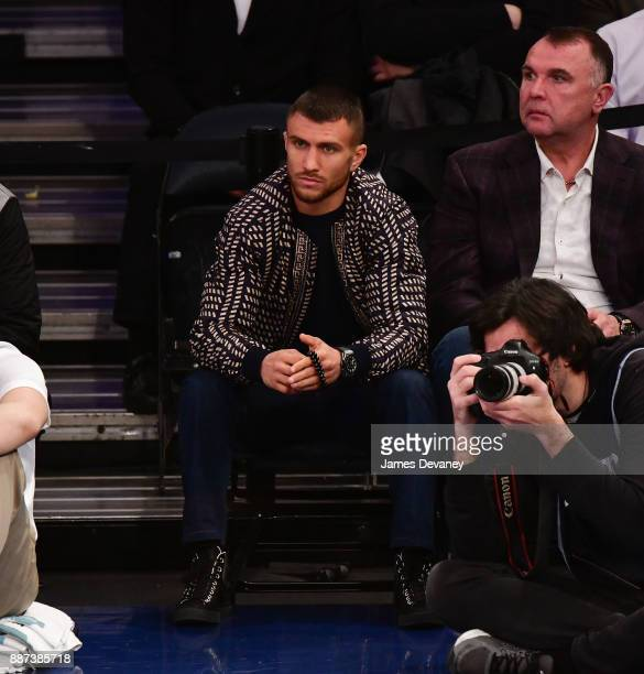 Vasyl Lomachenko attends the Memphis Grizzlies Vs New York Knicks game at Madison Square Garden on December 6 2017 in New York City