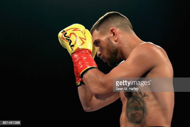 Vasyl Lomachenko looks on prior to a fight with Miguel Marriaga of Columbia at during their WBO World Championship Junior Lightweight title fight at...