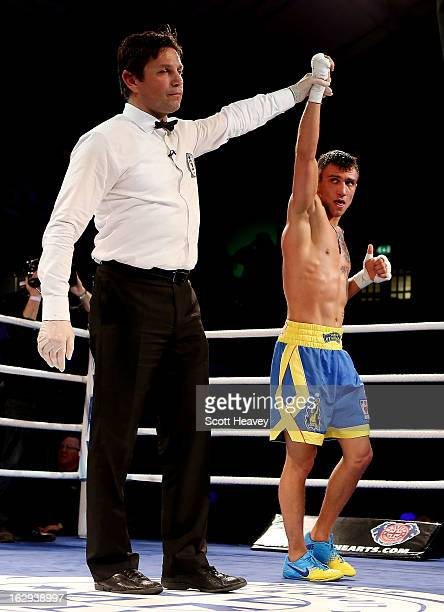 Vasyl Lomachenko of the Ukraine Otamans celebrates his victory over Sam Maxwell of the British Lionhearts during the World Series of Boxing between...