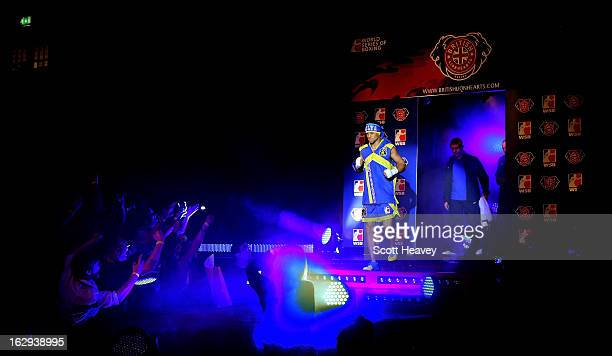 Vasyl Lomachenko of the Ukraine Otamans enters the ring during the World Series of Boxing between the British Lionhearts and the Ukraine Otamans at...