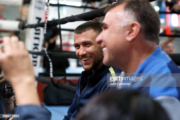 Vasyl Lomachenko speaks to the media during a media workout on April 24 2018 in Oxnard California
