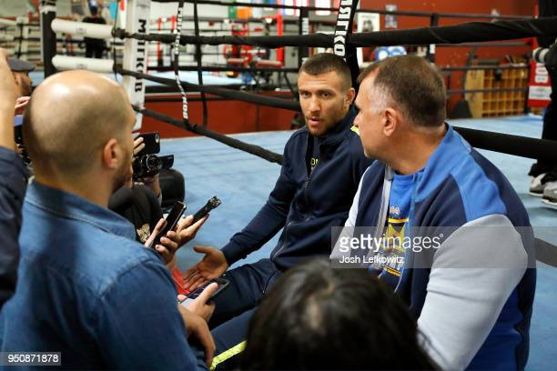 Vasyl Lomachenko speaks to the media prior to a media workout on April 24 2018 in Oxnard California