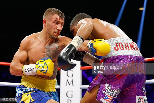 Vasyl Lomachenko throws a left at Gamalier Rodriguez during their WBO featherweight championship bout on May 2 2015 at MGM Grand Garden Arena in Las...