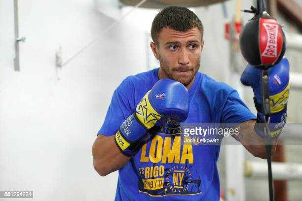 Vasyl Lomachenko works out during a media workout at the Boxing Laboratory on November 28 2017 in Oxnard California