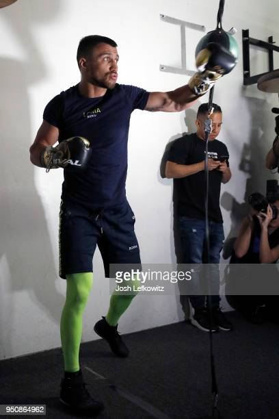 Vasyl Lomachenko works out during a media workout on April 24 2018 in Oxnard California