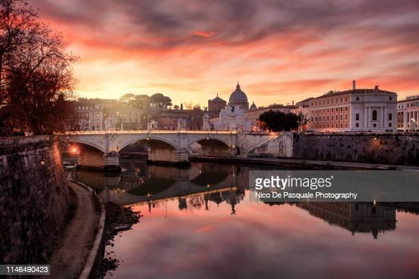 vatican city at sunset - rome stock pictures, royalty-free photos & images