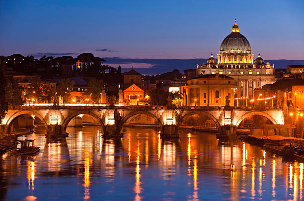 Vatican City sunset St Peter's Basilica River Tiber Rome Italy