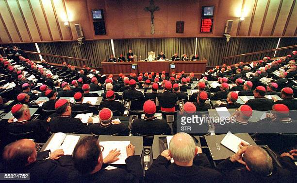 A file photo taken 21 May 2001 shows a general view of the synod of Roman Catholic bishops gathering at the Vatican Around 250 bishops from across...