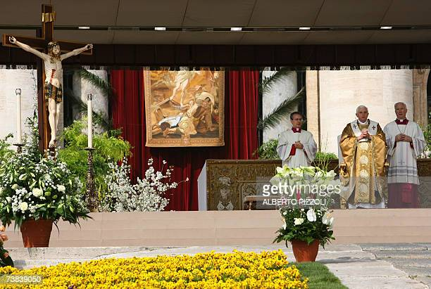 CORRECTION CITY Pope Benedict XVI celebrates a mass on Easter Sunday the most joyous day of the Christian year celebrating Christ's Resurrection 08...