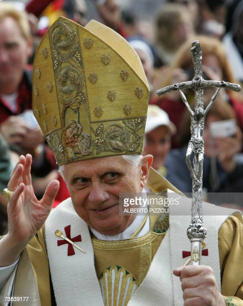CORRECTION CITY Pope Benedict XVI waves to the believers as he celebrates a mass on Easter Sunday the most joyous day of the Christian year...