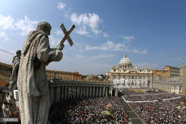 general view of Saint Peter's square at the Vatican as Pope Benedict XVI celebrates a mass on Easter Sunday the most joyous day of the Christian year...