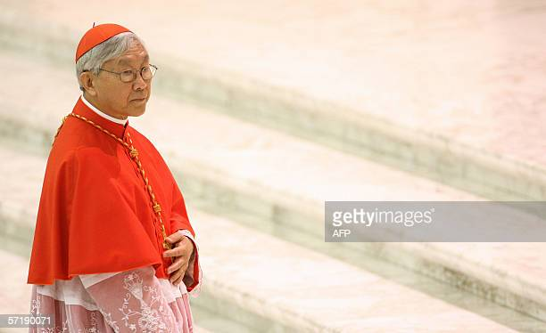 Vatican City, VATICAN CITY STATE : Newly appointed cardinal Joseph Zen of Hong Kong is pictured during a courtesy visit, 27 March 2006 in Vatican,...