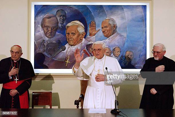Pope Benedict XVI blesses the Vatican Radio studios flanked by Cardinal Roberto Tucci and German Father Hanse Kovembach Superior General of the...